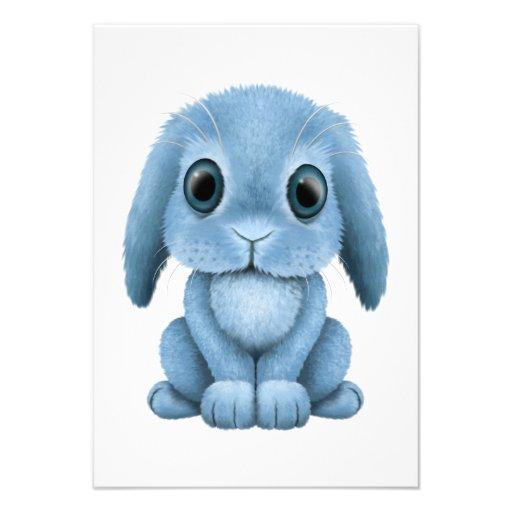 Lapin mignon de bébé bleu invitations