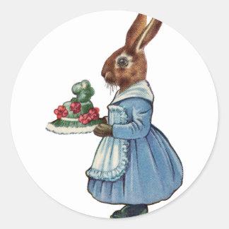 Lapin vintage avec le gâteau sticker rond