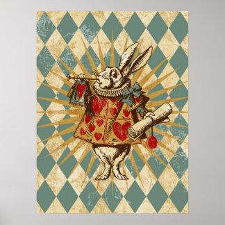 Lapin vintage de blanc d'Alice Affiches