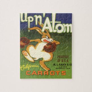 Lapin vintage de boxe d'art d'étiquette, vers le puzzle