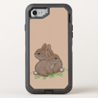 Lapins adorables dans le trèfle coque OtterBox defender iPhone 8/7