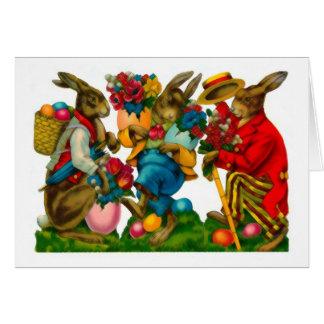 Lapins de Pâques lumineux vintages Cartes De Vœux