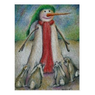 Lapins désespérés pour manger le nez de la carotte carte postale