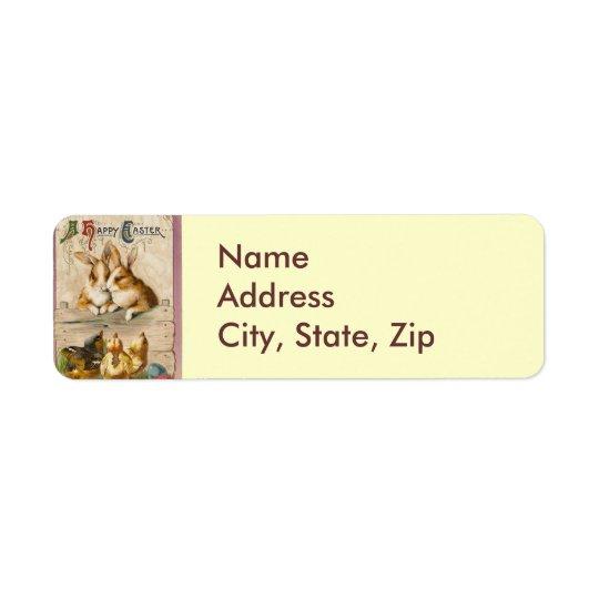 Lapins et poussins étiquette d'adresse retour