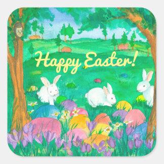 Lapins heureux de Pâques Sticker Carré