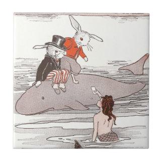 Lapins montant la sirène de rassemblement de balei petit carreau carré