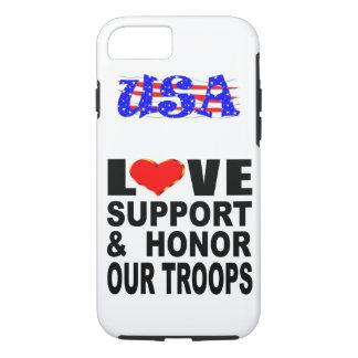 L'appui d'amour et honorent nos troupes Etats-Unis Coque iPhone 8/7