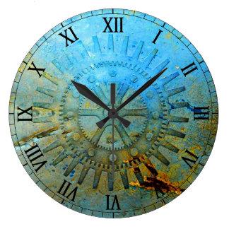 L'Aqua Steampunk embraye l'horloge murale Grande Horloge Ronde