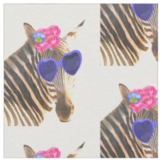 L'aquarelle animale drôle et mignonne de zèbre tissu