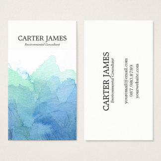L'aquarelle bleue ondule le carte de visite