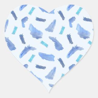 L'aquarelle bleue repère l'autocollant brillant de sticker cœur