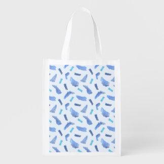 L'aquarelle bleue repère le sac réutilisable sacs d'épicerie
