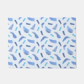 """L'aquarelle bleue repère le tapis de porte 18"""" x"""