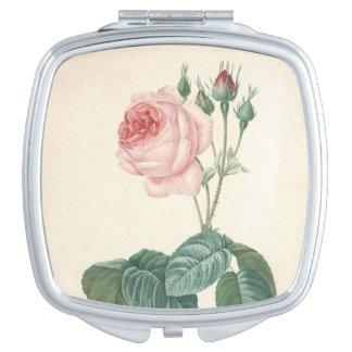 L'aquarelle botanique vintage avec s'est levée - m miroir compact