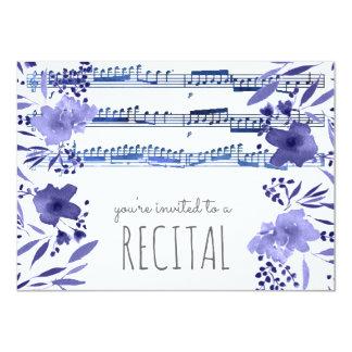 l'aquarelle de bleu d'indigo fleurit le carton d'invitation  11,43 cm x 15,87 cm
