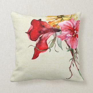 L'aquarelle de Flora Botanica fleurit la toile de Coussins Carrés