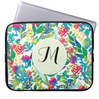 L'aquarelle de jungle fleurit le monogramme fin trousses ordinateur