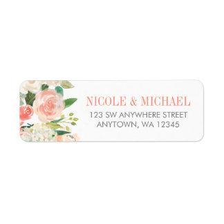 L'aquarelle en pastel fleurit l'adresse de retour étiquette d'adresse retour