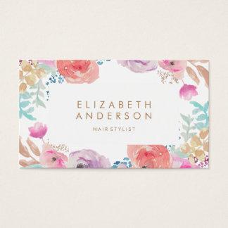 L'aquarelle en pastel fleurit le carte de visite