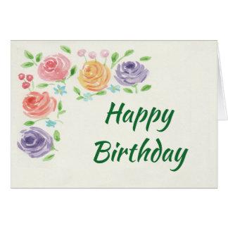 L'aquarelle fleurit la carte d'anniversaire (les