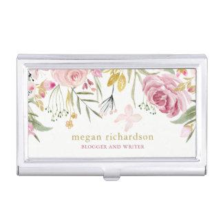 L'aquarelle fleurit rose et or de | floraux sur le étui pour cartes de visite