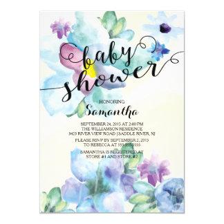 L'aquarelle moderne fleurit l'invitation de baby carton d'invitation  12,7 cm x 17,78 cm