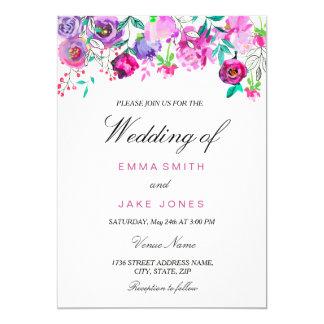 L'aquarelle pourpre et en bon état rose fleurit la carton d'invitation  12,7 cm x 17,78 cm