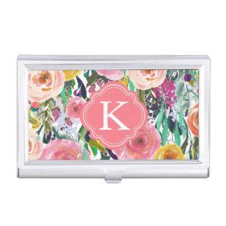 L'aquarelle romantique de jardin fleurit le étui pour cartes de visite
