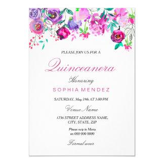 L'aquarelle rose de menthe de pourpre fleurit carton d'invitation  12,7 cm x 17,78 cm