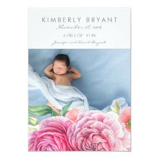 L'aquarelle rose fleurit la naissance de bébé de carton d'invitation  12,7 cm x 17,78 cm