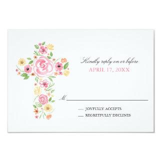 L'aquarelle rose fleurit la première sainte carton d'invitation 8,89 cm x 12,70 cm