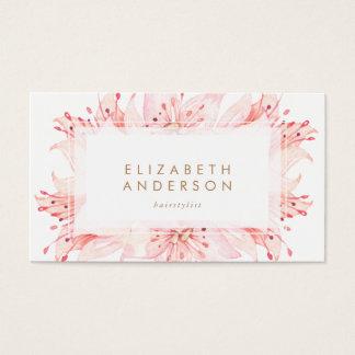 L'aquarelle rose fleurit le carte de visite de lis