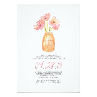 l'aquarelle rougissent partie de fiançailles carton d'invitation  12,7 cm x 17,78 cm