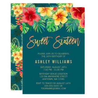 L'aquarelle tropicale fleurit l'anniversaire du carton d'invitation  12,7 cm x 17,78 cm