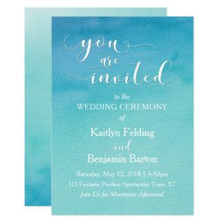 L'aquarelle turquoise et bleue vous épousant sont carton d'invitation  12,7 cm x 17,78 cm