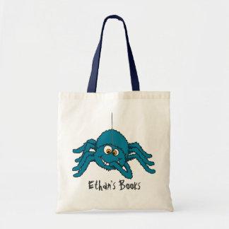 L'araignée bleue d'amusement badine le sac