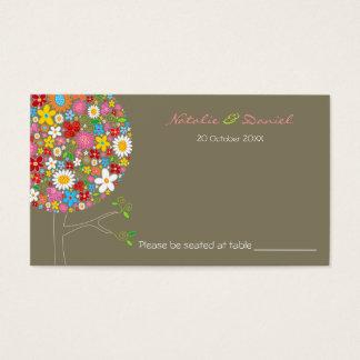 L'arbre de bruit de fleurs de ressort colore la cartes de visite