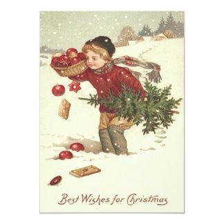 L'arbre de Noël de garçon présente la neige de Carton D'invitation 12,7 Cm X 17,78 Cm