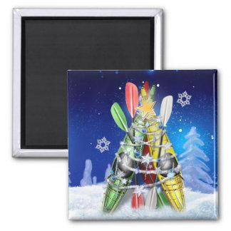 L'arbre de Noël de kayak Magnet Carré