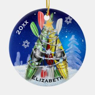 L'arbre de Noël de kayak Ornement Rond En Céramique