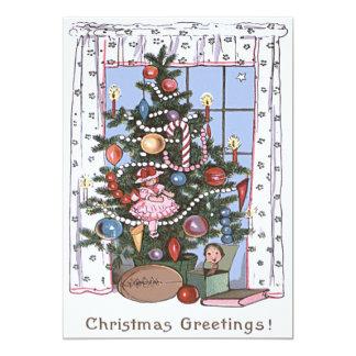 L'arbre de Noël illuminé par des bougies présente Carton D'invitation 12,7 Cm X 17,78 Cm