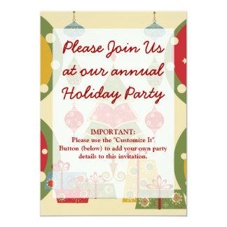 L'arbre de Noël ornemente des vacances de présents Carton D'invitation 12,7 Cm X 17,78 Cm
