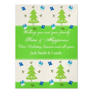 L'arbre de Noël présente la décoration Carton D'invitation 16,51 Cm X 22,22 Cm