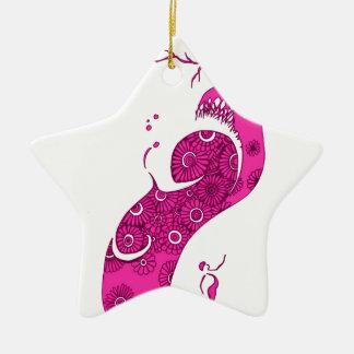 L'arbre rose ornement étoile en céramique