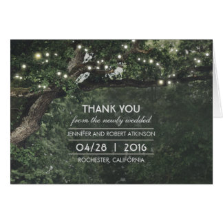L'arbre rustique allume le Merci de mariage Cartes De Vœux
