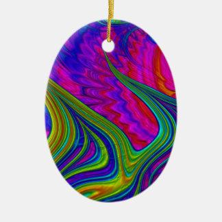 L'arc-en-ciel colore l'art 3D abstrait Ornement Ovale En Céramique