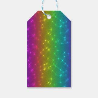 L'arc-en-ciel lumineux miroite étiquette de cadeau