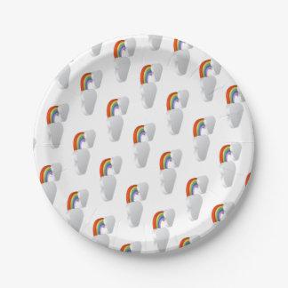 L'arc-en-ciel opacifie le concept d'icône de temps assiettes en papier
