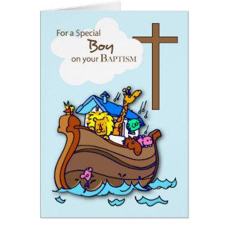 L'arche de Noé de garçon de baptême, animaux Carte De Vœux