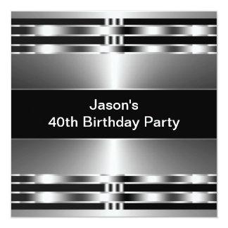 L'argent noir équipe la quarantième fête carton d'invitation  13,33 cm